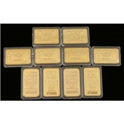 Lot of 10 Gold Plated Bars