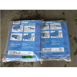 2 Western Rugged Blue Tarps - 10 Feet x 14 Feet
