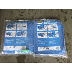2 Western Rugged Blue Tarps - 10 Feet x 12 Feet