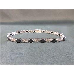 7.8 CT Blue Sapphire & Diamond Tennis Bracelet
