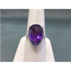 5 CT Amethyst & Diamond Solitaire Ring