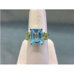 Blue Topaz & Peridot Ring