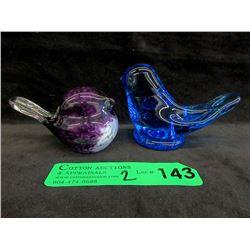 2 Signed Art Glass Birds