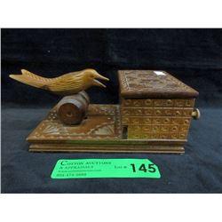 Vintage Hand Carved Mechanical Cigarette Dispenser