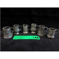 6 Vintage John Pinches Miniature Steins