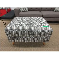New Fabric Ottoman with Wood Legs