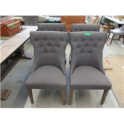 4 New Fabric Dining Chairs with Wood Legs