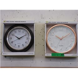 "2 New 10"" Wall Clocks with Glass Lenses"
