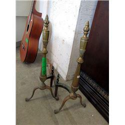 Pair of Brass Andirons