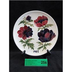 "Signed 1985 Moorcroft Plate - 9"" Diameter"