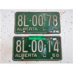 Two 1968 Alberta License Plates
