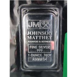10 x 1 Oz. Johnson Matthey .999 Silver Bars