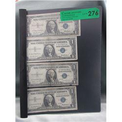4 Vintage U.S. One Dollar Silver Certificates