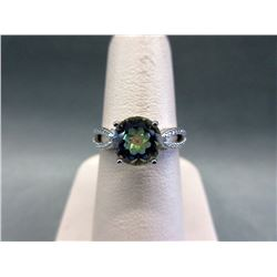 Blue Mystic Topaz & Diamond Solitaire Ring