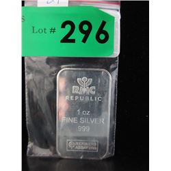 1 Oz. Republic Metals Corp .999 Silver Bar