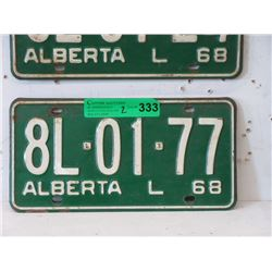 Pair of 1968 Alberta License Plates