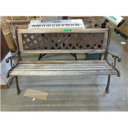 "50"" Wood Garden Bench with Metal Ends"