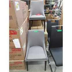 Pair of New Grey Fabric Dining Chairs - Wood Legs