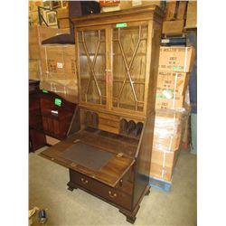 Solid Oak Drop Front Secretary Bookcase