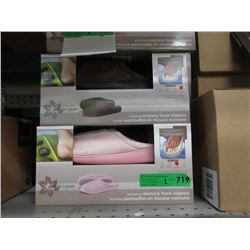 2 Pairs of New Memory Foam Slippers - Size L & XL