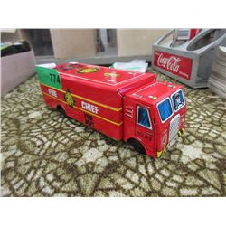 1960 Lucky Toy Tin Lithograph Fire Truck