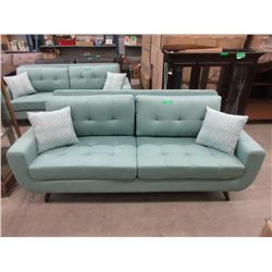 New Retro Style 7 Foot Aqua Fabric  Sofa