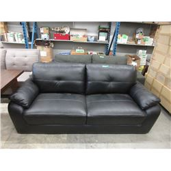 "New Black Leather 80"" Sofa"