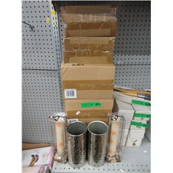 """5 Pairs of New Metal Vases & 11"""" Candles"""