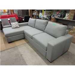New Grey Fabric Sofa Bed with Chaise End