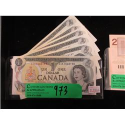 6 Uncirculated 1973 Canadian $1 Bills in Sequence