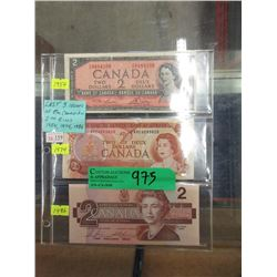 Last Three Issues of the Canadian $2 Bill