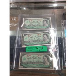 3 Canadian 1967 Centennial $1 Bills