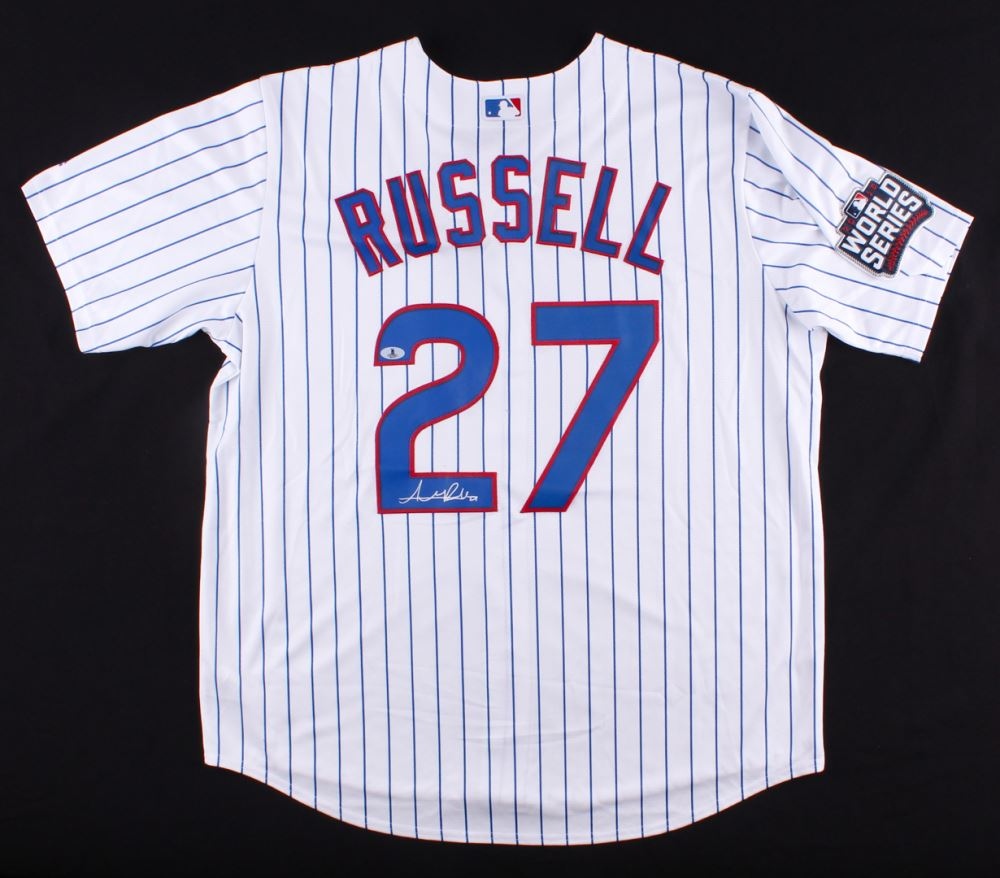 the latest 0b94e 5f315 Addison Russell Signed Chicago Cubs White Pinstripe 2016 ...