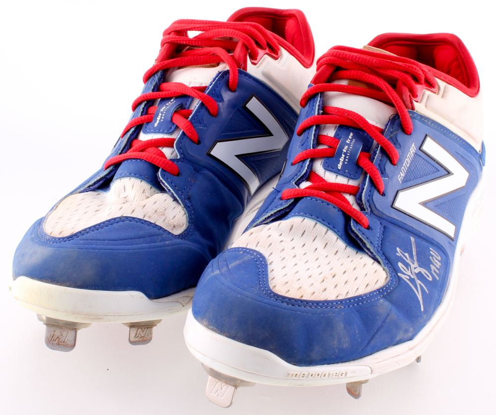 72b4a72fd Image 1   Chris Taylor Signed 2017 Dodgers Game-Used Pair of Custom New  Balance