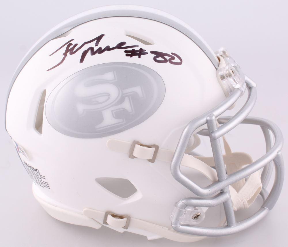 9b892ed2a27 Image 1   Jerry Rice Signed 49ers Custom Matte White ICE Speed Mini Helmet  (Beckett