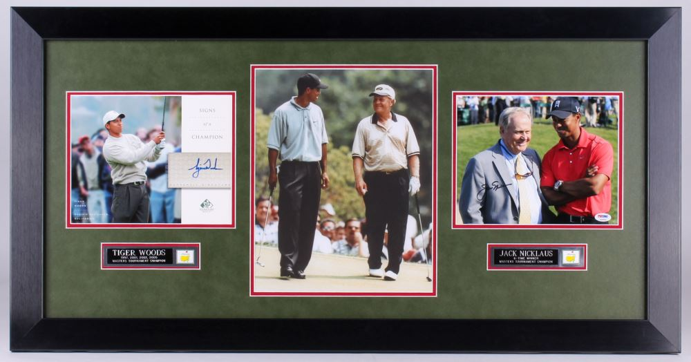 aa3e58a9801 Image 1   Jack Nicklaus and Tiger Woods signed 21x40.75 Custom Framed Photo  Display