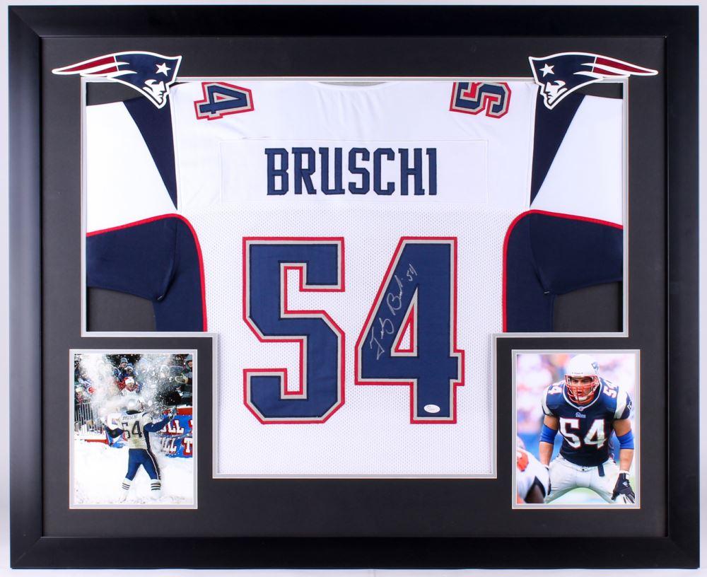 new concept e1fd0 6f16e Tedy Bruschi Signed Patriots 35.5x43.5 Custom Framed ...