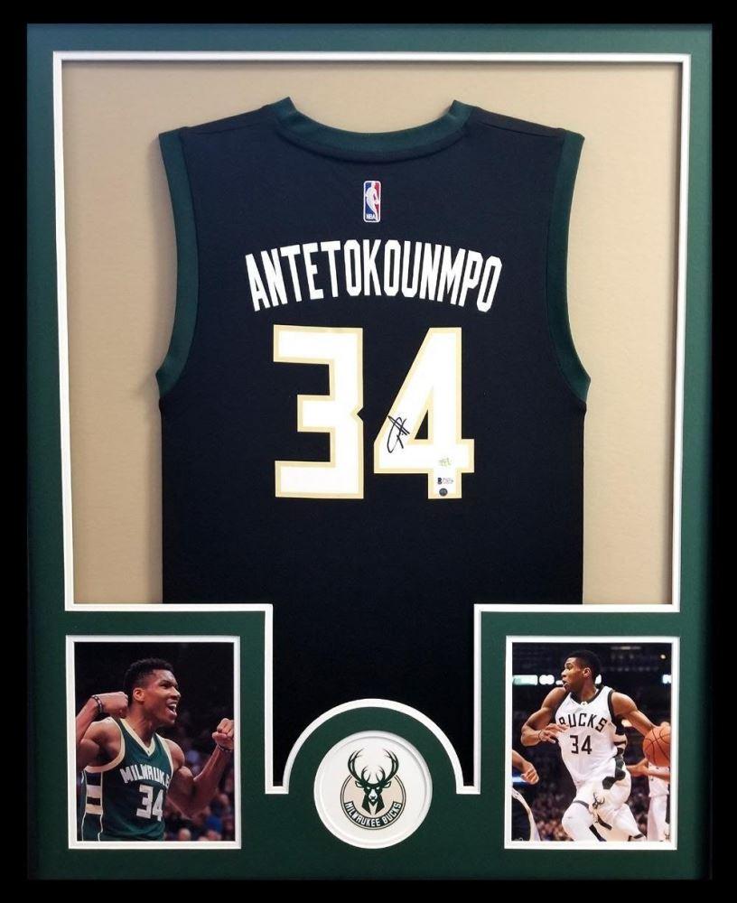 the best attitude 4a459 68216 Giannis Antetokounmpo Signed Bucks 34x42 Custom Framed ...