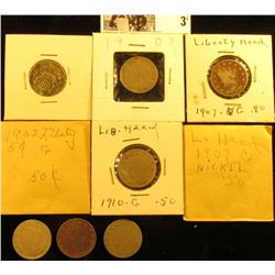 1868 U.S. Shield Nickel & (8) various Date Liberty Nickels.