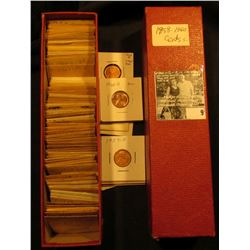 "9"" Red Stock Box with various 1959-60 Lincoln Cents in manilla envelopes & carded holders with grade"