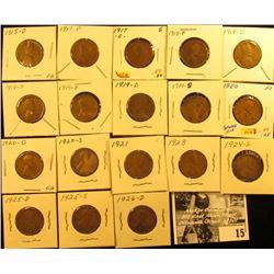 1915 D VG, 17P G, 17S G, 18P G, 18D G, 18S G, 19P VG, 19D VF, 19S G, 20P F, 20D G, 20S VF, 21P Fine,