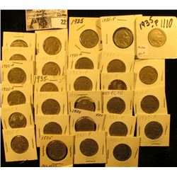 "(28) 1935 P Buffalo Nickels all carded in 1 1/2"" & 2"" holders. Some slightly better grades."