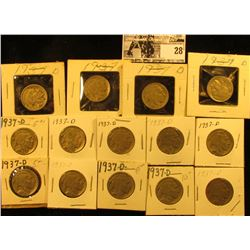 "(14) 1937 D Buffalo Nickels all carded in 1 1/2"" & 2"" holders. Some slightly better grades."