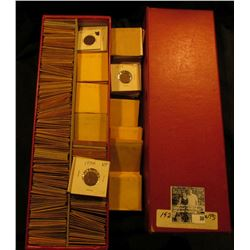 "14"" Red Double Row Stock Box full of Lincoln Cents dating 1927-39. All stored in white or manilla en"