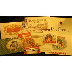 (10) different old and colorful Cigar Box labels.