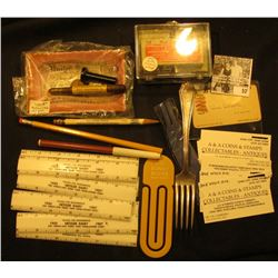 "Mess of unusual items from the ""Dr. J.W. Carberry Estate"", includes: (8) 6"" plastic advertising rule"