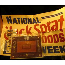 "21"" x 32"" Large heavy paper sign ""National Jack Sprat Foods May 5-10 Week""; ""William Jefferson Clint"