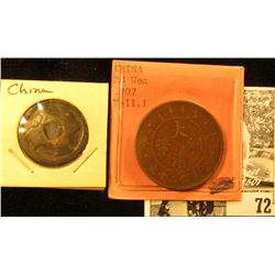 Pair of Old Chinese Copper Coins, one of which is a 1907 China 20 Wen, Y11.1.
