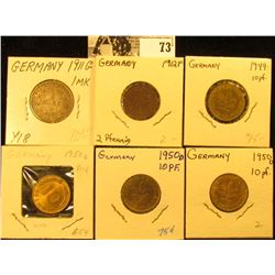 (3) Gem BU 1950D Ten Pfennig Coins; 1949D Ten Pfennig, EF; 1912F Two Pfennig, VF; & 1911G Silver One