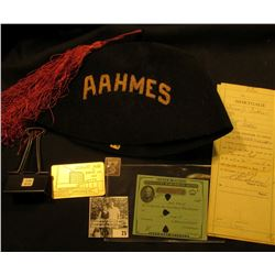 """AAHMES"" Black Fez with Tassle; 1982 ANA Boston Library Pass, metal; metal clip for group of papers;"